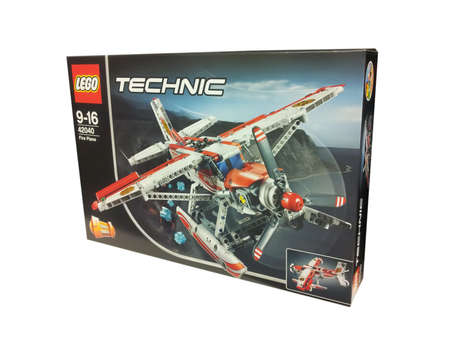 technic: Adelaide, Australia - June 19, 2016: A studio shot of a Lego Technic Fire Plane 42040 Set isolated on a white background. Lego is extremely popular worldwide with children and collectors.
