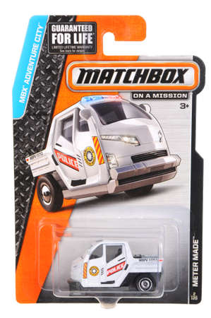 Adelaide, Australia - July 17, 2016:An isolated shot of an unopened Police Meter Made Matchbox Diecast Toy Car. Replica Vehicles made by Hot Wheels are highy sought after collectables.
