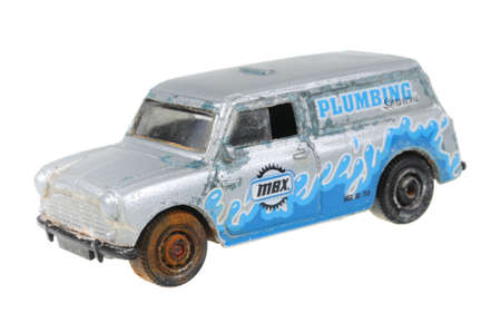 replica: Adelaide, Australia - June 18, 2016:An isolated shot of a 1966 Austin Mini Van Matchbox Diecast Toy Car. Replica diecast toy cars made by Matchbox are highly sought after collectables.