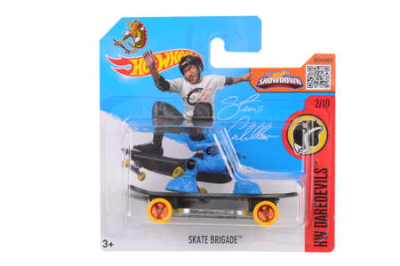 steve: Adelaide, Australia - July 05, 2016:An isolated shot of an unopened Skate Brigade Steve Cabellero 2016 Hot Wheels Diecast Toy. Replica Vehicles made by Hot Wheels are highy sought after collectables.