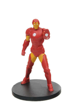 marvel: Adelaide, Australia - July 27, 2016:An isolated shot of a Iron Man action figure from the Marvel universe. Merchandise from Marvel comics and movies are highy sought after collectables.