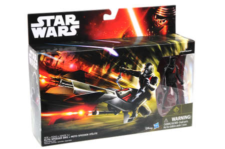 stormtrooper: Adelaide, Australia - July 27, 2016:An isolated shot of an unopened Elite Speeder Bike Toy Vehicle from the Star Wars The Force Awakens movie.Merchandise from the Star Wars movies are highy sought after collectables.