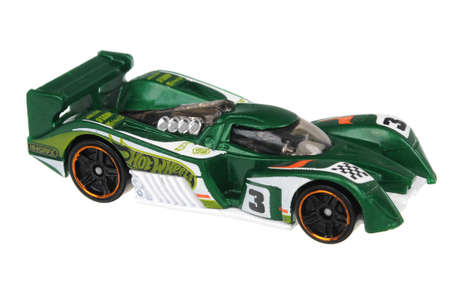 ours: Adelaide, Australia - July 17, 2016:An isolated shot of a 2010 24 Ours Hot Wheels Diecast Toy Car. Hot Wheels cars made by Mattel are highly sought after collectables.