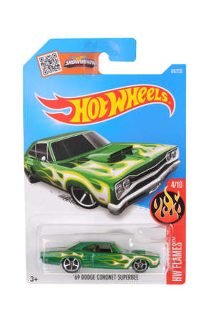 sought: Adelaide, Australia - June 22, 2016:An isolated shot of an unopened 1969 Dodge Coronet Superbee Hot Wheels Diecast Toy Car. Replica Vehicles made by Hot Wheels are highy sought after collectables.