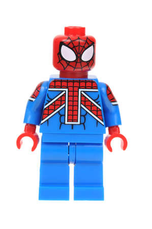 collectable: Adelaide, Australia - July 17, 2016: A studio shot of a UK Spiderman Lego minifigure from the Marvel Comics and Movies. Lego is extremely popular worldwide with children and collectors. Editorial