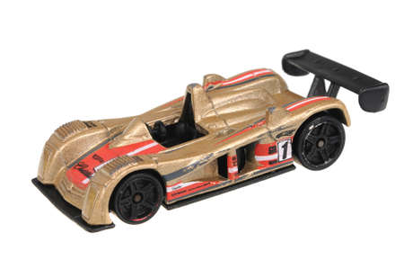 sought: Adelaide, Australia - July 08, 2016:An isolated shot of a 2000 Cadillac LMP Hot Wheels Diecast Toy Car. Hot Wheels cars made by Mattel are highly sought after collectables.