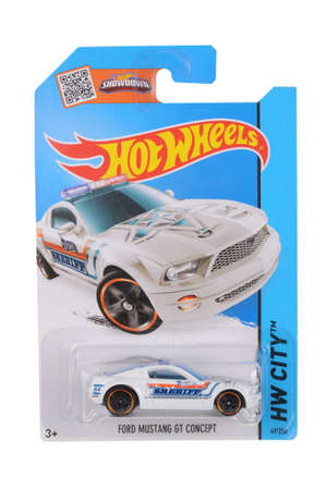 mustang gt: Adelaide, Australia - June 22, 2016:An isolated shot of an unopened Ford Mustang GT Concept Police Car Hot Wheels Diecast Toy Car. Replica Vehicles made by Hot Wheels are highy sought after collectables.