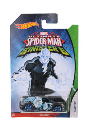 marvel: Adelaide, Australia - June 22, 2016:An isolated shot of an unopened Ultimate Spiderman Electro Hot Wheels Diecast Toy Car from the popular Marvel Character Spiderman. Merchandise from the Marvel universe are highy sought after collectables.