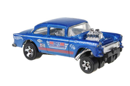 Adelaide, Australia - June 18, 2016:An isolated shot of a 1955 Chevy Bel Air Gasser Hot Wheels Diecast Toy Car. Hot Wheels cars made by Mattel are highly sought after collectables. Editorial