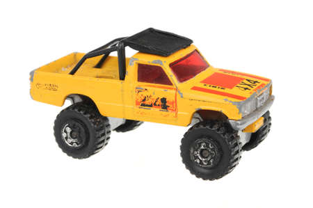 Adelaide, Australia - June 29, 2016:An isolated shot of a 1981 4x4 Open Back Truck Matchbox Diecast Toy Car. Replica diecast toy cars made by Matchbox are highly sought after collectables. Editorial