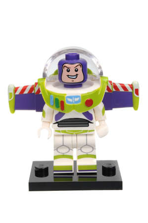 toy story: Adelaide, Australia - May 14, 2016:An isolated shot of a Buzz Lightyear Cat Lego Minifigure from Disney Series 1 of the collectable lego minifigure toys. Lego is very popular with children and collectors worldwide.