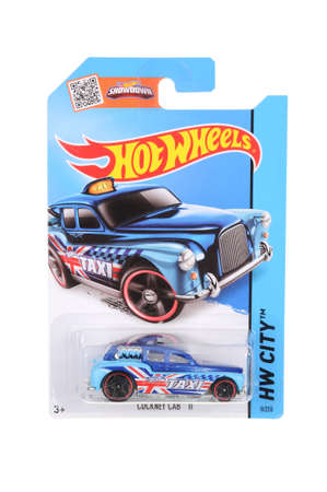 sought: Adelaide, Australia - June 22, 2016:An isolated shot of an unopened Cockney Cab Hot Wheels Diecast Toy Car. Replica Vehicles made by Hot Wheels are highy sought after collectables.