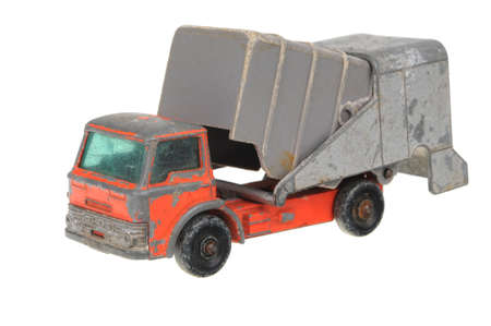 replica: Adelaide, Australia - May 24, 2016:An isolated shot of a 1966 Refuse Truck Matchbox Superfast Diecast Toy Vehicle. Replica diecast toy cars made by Matchbox are highly sought after collectables. Editorial