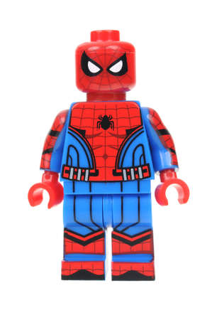 Adelaide, Australia - July 17, 2016: A studio shot of a Civil War Spiderman Lego minifigure from the Marvel Comics and Movies. Lego is extremely popular worldwide with children and collectors.