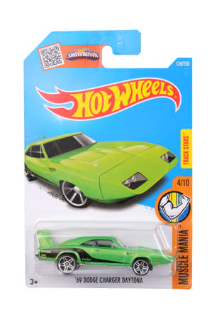 dodge: Adelaide, Australia - June 11, 2016:An isolated shot of an unopened 1969 Dodge Charger Daytona Hot Wheels Diecast Toy Car. Replica Vehicles made by Hot Wheels are highy sought after collectables.