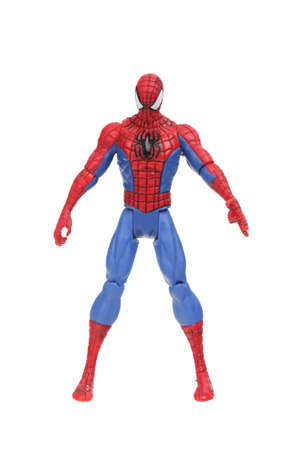 marvel: Adelaide, Australia - July 08, 2016:An isolated shot of a Spiderman action figure from the Marvel universe. Merchandise from Marvel comics and movies are highy sought after collectables. Editorial