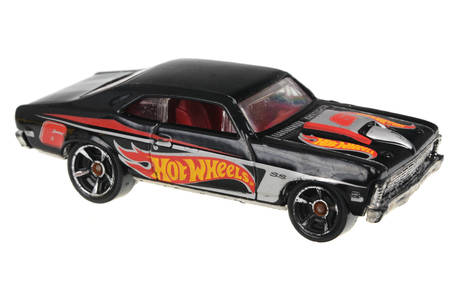 chevy: Adelaide, Australia - July 08, 2016:An isolated shot of a 1968 Chevy Nova Hot Wheels Diecast Toy Car. Hot Wheels cars made by Mattel are highly sought after collectables.
