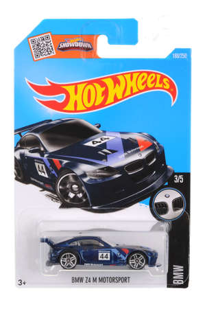 motorsport: Adelaide, Australia - July 05, 2016:An isolated shot of an unopened BMW Z4 M Motorsport Hot Wheels Diecast Toy Car. Replica Vehicles made by Hot Wheels are highy sought after collectables.