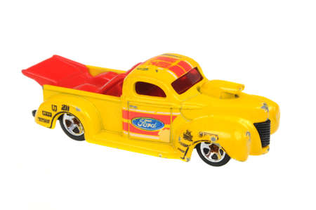 sought: Adelaide, Australia - July 08, 2016:An isolated shot of a 1940 Ford Hot Wheels Diecast Toy Car. Hot Wheels cars made by Mattel are highly sought after collectables.