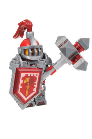 Adelaide, Australia - July 8, 2016: A Macy Halbert Nexo Knights Lego Minifigure isolated on a white background. Lego is very popular with children and collectors worldwide. Editorial