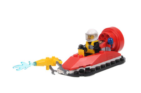 hovercraft: Adelaide, Australia - March 06,2016:A studio shot of a Firefighter Lego minifigure from the Lego City 60106 Fire Starter Set. Lego is extremely popular worldwide with children and collectors. Editorial