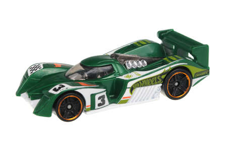 Adelaide, Australia - July 17, 2016:An isolated shot of a 2010 24 Ours Hot Wheels Diecast Toy Car. Hot Wheels cars made by Mattel are highly sought after collectables.