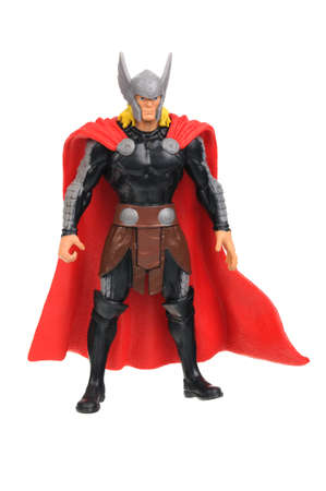 marvel: Adelaide, Australia - July 08, 2016:An isolated shot of a Thor action figure from the Marvel universe. Merchandise from Marvel comics and movies are highy sought after collectables. Editorial