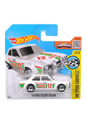 escort: Adelaide, Australia - July 27, 2016:An isolated shot of an unopened 1970 Ford Escort RS1600 Hot Wheels Diecast Toy Car. Replica Vehicles made by Hot Wheels are highy sought after collectables.