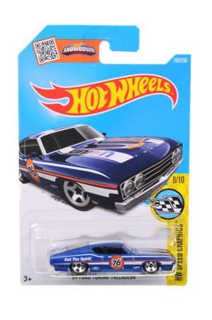 sought: Adelaide, Australia - July 27, 2016:An isolated shot of an unopened 1969 Ford Torino Talladega Hot Wheels Diecast Toy Car. Replica Vehicles made by Hot Wheels are highy sought after collectables. Editorial