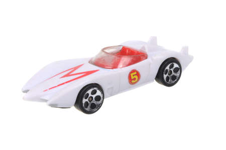mach: Adelaide, Australia - March 15, 2016:An isolated shot of a Speed Racer Mach 5 Diecast Toy Car. Diecast toy cars are highly sought after collectables.