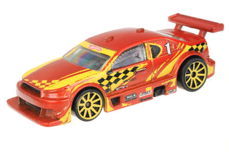 cars race: Adelaide, Australia - June 29, 2016:An isolated shot of a 2008 Amazoom Hot Wheels Diecast Toy Car. Hot Wheels cars made by Mattel are highly sought after collectables.