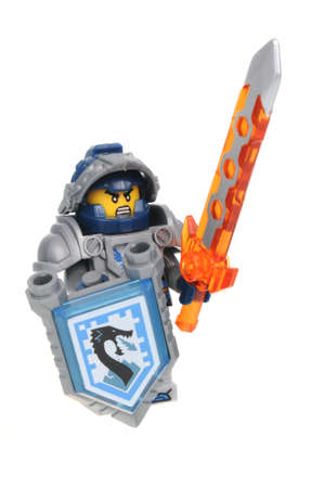 collectable: Adelaide, Australia - July 8, 2016: A Clay Moorington Nexo Knights Lego Minifigure isolated on a white background. Lego is very popular with children and collectors worldwide.