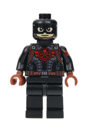 Adelaide, Australia - July 17, 2016: A studio shot of a Captain America Hydra Lego Compatible minifigure from the Marvel Comics and Movies. Lego is extremely popular worldwide with children and collectors.