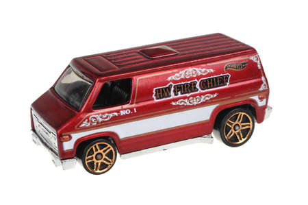 super hot: Adelaide, Australia - July 17, 2016:An isolated shot of a 2015 Fire Chief Super Van Hot Wheels Diecast Toy Car. Hot Wheels cars made by Mattel are highly sought after collectables. Editorial