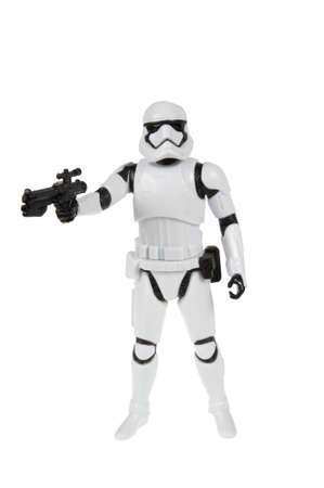 sought: Adelaide, Australia - November 06, 2015:An isolated shot of a 2015 First Order Stormtrooper action figure from the Star Wars The Force Awakens movie.Merchandise from the Star Wars movies are highy sought after collectables. Editorial