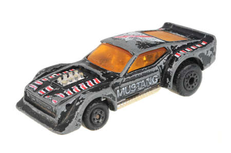 Adelaide, Australia - July 05, 2016:An isolated shot of a 1983 IMSA Mustang Matchbox Diecast Toy Car. Replica diecast toy cars made by Matchbox are highly sought after collectables.