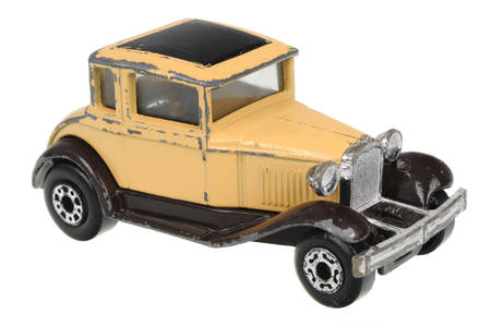 Adelaide, Australia - July 05, 2016:An isolated shot of a 1979 Model A Ford Matchbox Diecast Toy Car. Replica diecast toy cars made by Matchbox are highly sought after collectables.