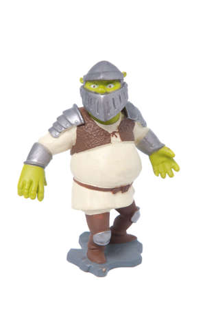figurine: Adelaide, Australia - May 22, 2015:A studio shot of a Shrek Action Figure isolated on a white background. Merchandise from the popular animated Shrek Movies are highly sought after collectables.
