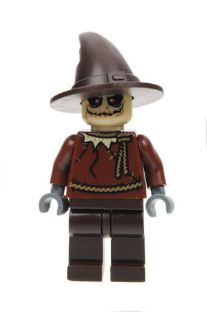 Adelaide, Australia - July 27, 2016: A studio shot of The Scarecrow Lego minifigure from the DC Comics and Movies. Lego is extremely popular worldwide with children and collectors.