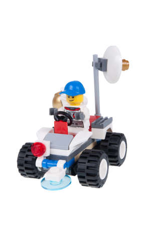 Adelaide, Australia - October 01, 2015:A studio shot of an Astronaut Lego minifigure from the Lego City 60077 Space Starter Set. Lego is extremely popular worldwide with children and collectors.