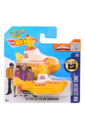 Adelaide, Australia - July 27, 2016:An isolated shot of an unopened The Beatles Yellow Submarine Hot Wheels Diecast Toy Car. Replica Vehicles made by Hot Wheels are highy sought after collectables.