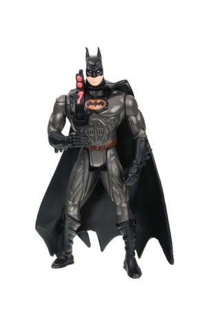 batman: Adelaide, Australia - June 29, 2016: An isolated image of a Dark Knight or Batman Action Figure. Batman is one of DC Comics most popular superheros, spawning many movies, TV series and collectables.
