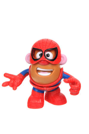 toy story: Adelaide, Australia - July 08, 2016: A Spiderman Potato Head toy isolated on a white background. Mr Potato Head is a popular toy which has been in production since 1952. The toy has also appeared in Television series, the Toy Story Movies and video games.