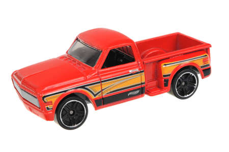 Adelaide, Australia - July 08, 2016:An isolated shot of a Custom 69 Chevy Hot Wheels Diecast Toy Car. Hot Wheels cars made by Mattel are highly sought after collectables.
