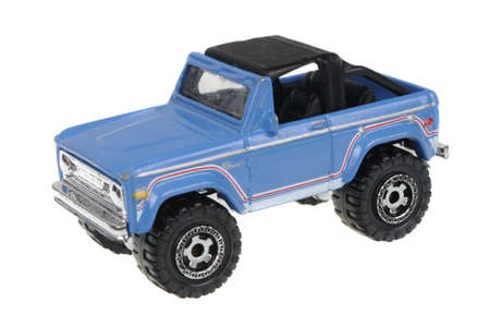 bronco: Adelaide, Australia - July 05, 2016:An isolated shot of a 2006 1972 Ford Bronco Matchbox Diecast Toy Car. Replica diecast toy cars made by Matchbox are highly sought after collectables.