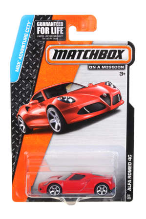 alfa: Adelaide, Australia - July 17, 2016:An isolated shot of an unopened Alfa Romeo 4C Matchbox Diecast Toy Car. Replica Vehicles made by Hot Wheels are highy sought after collectables.