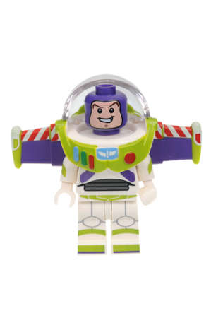 lightyear: Adelaide, Australia - May 14, 2016:An isolated shot of a Buzz Lightyear Cat Lego Minifigure from Disney Series 1 of the collectable lego minifigure toys. Lego is very popular with children and collectors worldwide.