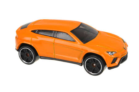 lamborghini: Adelaide, Australia - July 17, 2016:An isolated shot of a 2014 Lamborghini Urus Hot Wheels Diecast Toy Car. Hot Wheels cars made by Mattel are highly sought after collectables.