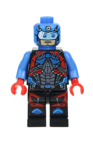 Adelaide, Australia - July 08, 2016:A studio shot of The Atom Lego minifigure from the DC Comics universe. Lego is extremely popular worldwide with children and collectors.