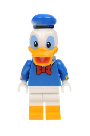 Adelaide, Australia - May 14, 2016:An isolated shot of a Donald Duck Lego Minifigure from Disney Series 1 of the collectable lego minifigure toys. Lego is very popular with children and collectors worldwide.